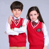 China Red sleeveless unisex sweater vest school uniforms design with picture primary on sale