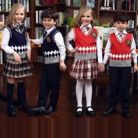 China Fashion primary school knitted sleeveless vest sweater uniform wholesale on sale