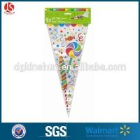 Best Custom Printed Triangle Shaped Plastic Bags Cone Bag For Popcorn Candy Bag wholesale