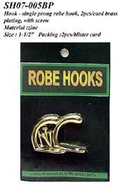 Cheap Hook - single prong robe hook, 2pcs/card, brass plating, w/screws for sale