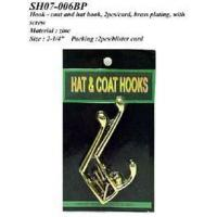 Best Hook - coat and hat hook, 2pcs/card, brass plating, w/screws wholesale