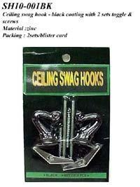 Cheap Ceiling swag hook - black coating with 2 sets toggle & screws for sale