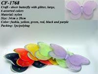 Buy cheap Craft - sheer butterfly with glitter, large, 6 assorted colors from wholesalers