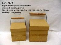 Buy cheap Craft box - paper mache square box with shell emboss & handle, 2pcs/set from wholesalers