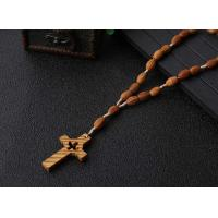 China 8x6mm Wood Oval Beads Cord Rosary With Wood Cross on sale