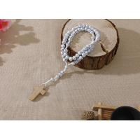 China 6-7mm white wood cord rosary with flowers on sale