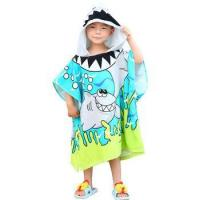 Personalized kids cartoon hooded beach bath poncho microfiber towels