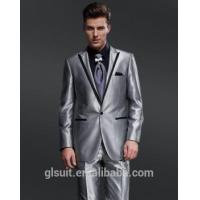 China 2018 New style wedding dress suit for men 100% wool one buttons sliver Tuxedos on sale