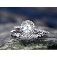 Best 2pcs Aquamarine engagement ring set-Solid 14k white gold wedding ring-handmade wholesale