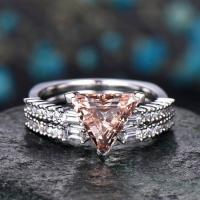 Best 2Pcs Morganite engagement ring set-Solid 14k white gold wedding ring-Real wholesale