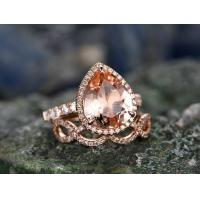 Best 2pcs Tear Droped Morganite engagement ring set-Solid 14k Rose gold wedding ring,loop wholesale