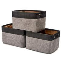 China Cube Fabric Linen Canvas Storage Bins Baskets for Shelves Laundry Playroom Closet Clothes Shoe Toy on sale