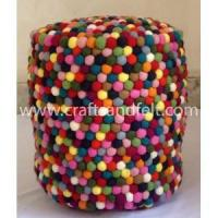 Buy cheap Handmade Felt Products Multi-colored felt ball pouf from wholesalers