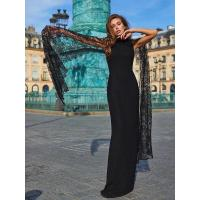 Best ELEGANT BLACK LONG LACE SLEEVE BANDAGE LONG DRESS wholesale