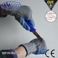 China NMSAFETY 13 gauge blue pu coated cut work gloves cut and puncture resistant gloves on sale