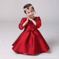 Best Angel dress for children Red Elegant Long sleeves Bow girls sexy night dress photos Chinese Style wholesale