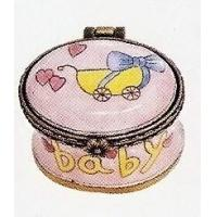 Best Children's & Baby's Gifts Mini Hinged Box Pink Baby Carriage wholesale