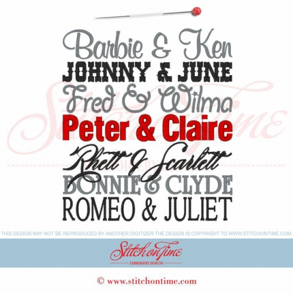 Cheap EMBROIDERY DESIGNS 1 Famous PeopleFamous Couples Add Your Names 6x10 for sale