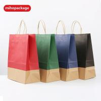 China Stcoked Sales White Kraft Paper Bags With Handle on sale